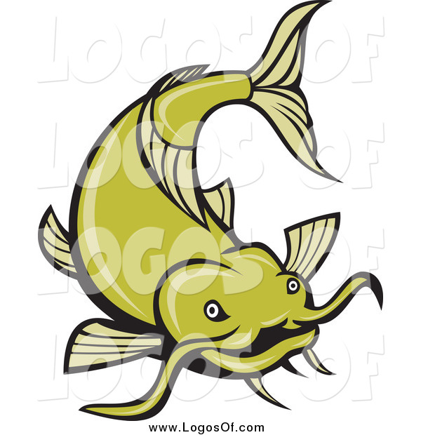 Vector Clipart of a Green Catfish Swimming Logo