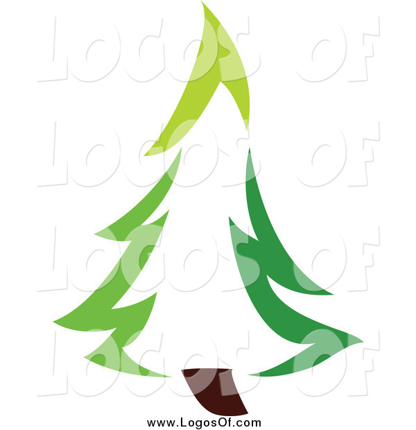 Vector Clipart of a Green Evergreen Tree Logo