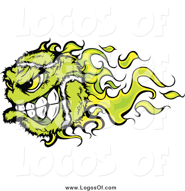 Vector Clipart of a Green Flaming Vicious Tennis Ball Character Sports Logo