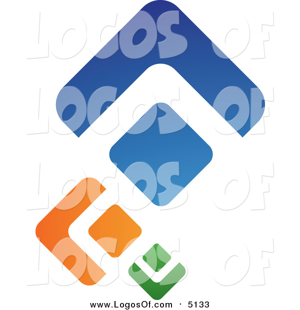 Vector Clipart of a Green Orange and Blue Abstract Diamonds Logo