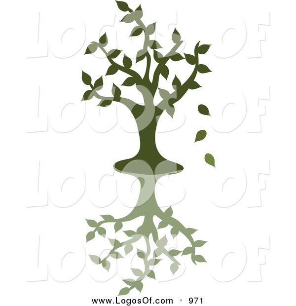 Vector Clipart of a Green Silhouetted Tree Dropping Leaves