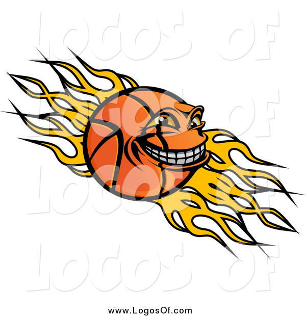 Vector Clipart of a Grinning Basketball Character and Flames Logo