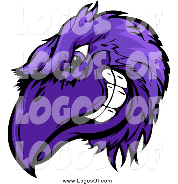 Vector Clipart of a Grinning Tough Purple Raven or Crow Mascot Head