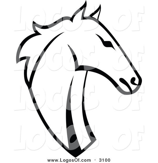 Vector Clipart of a Horse Head - Black and White Logo Design