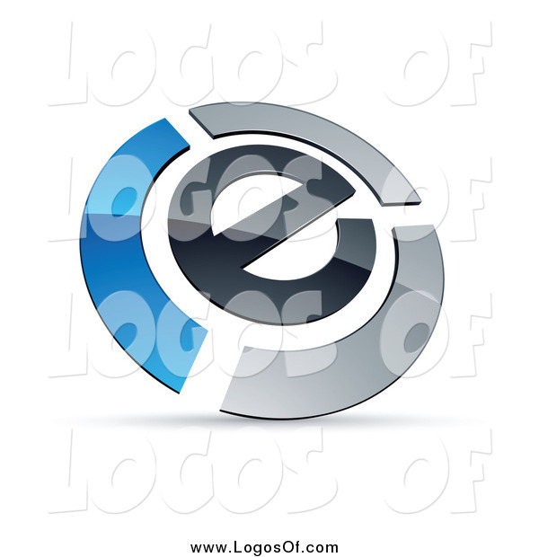 Vector Clipart of a Letter E Circled by Chrome and Blue Bars Logo