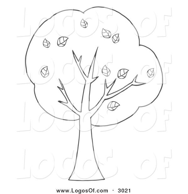 Vector Clipart of a Lineart Tree Logo
