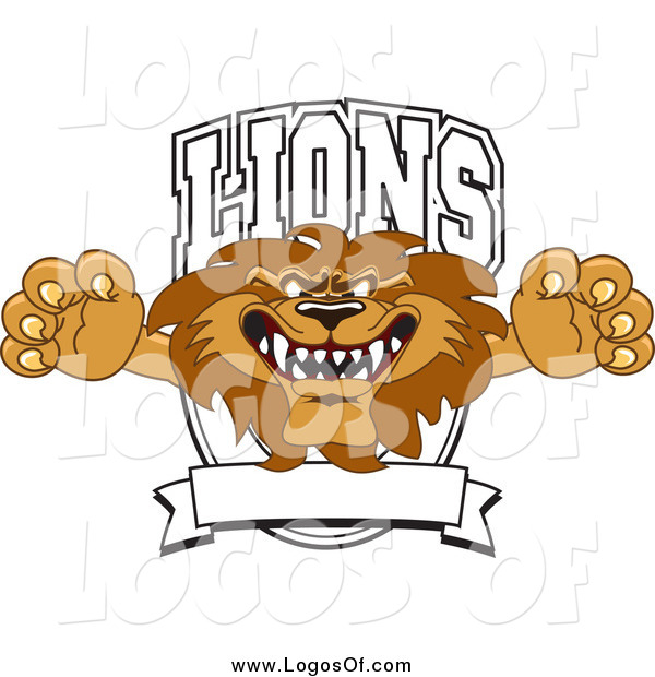 Vector Clipart of a Lion Character Mascot Leaping out of a Shield Logo