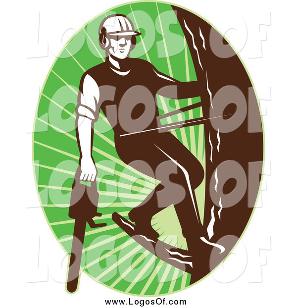 Vector Clipart of a Logo of a Male Tree Arborist Climbing with a Chainsaw in an Oval of Green Rays