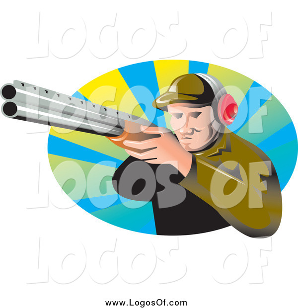 Vector Clipart of a Logo of an Aiming White Male Hunter