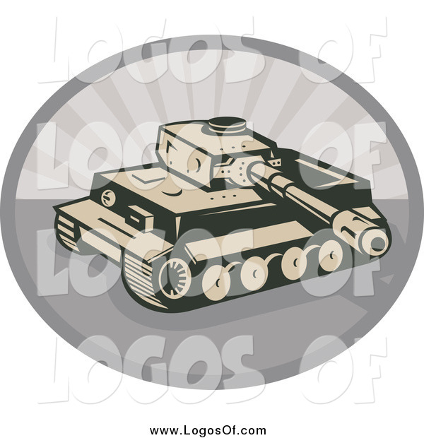 Vector Clipart of a Military Tank and Gray Rays Logo
