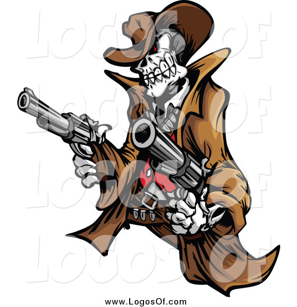 Vector Clipart of a Outlaw Cowboy Skeleton Holding Two Pistols Logo