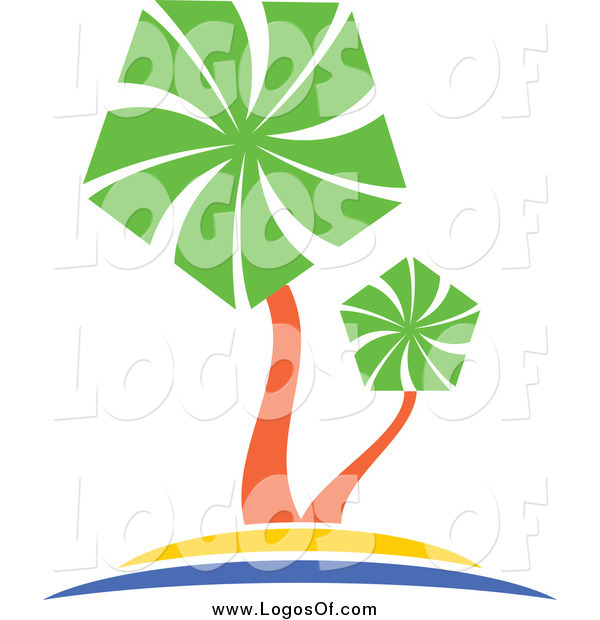 Vector Clipart of a Palm Tree Travel Logo