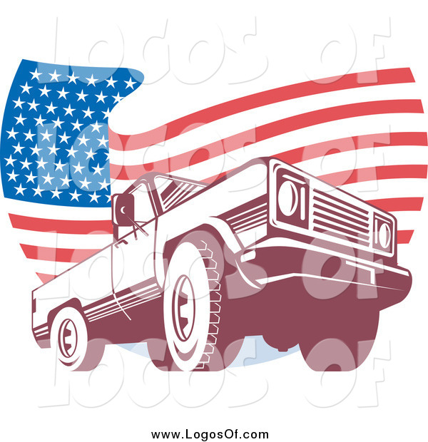 Vector Clipart of a Pick up Truck over a Wavy American Flag Logo