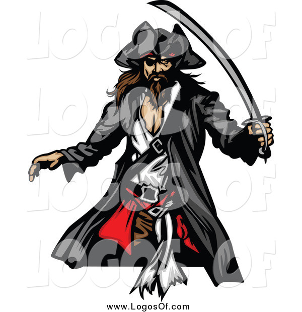 Vector Clipart of a Pirate with a Sword Logo