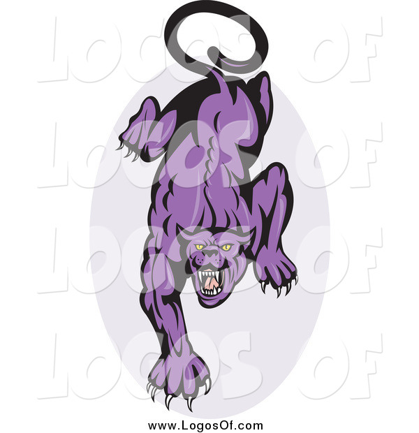 Vector Clipart of a Prowling Purple Angry Panther and Oval Logo