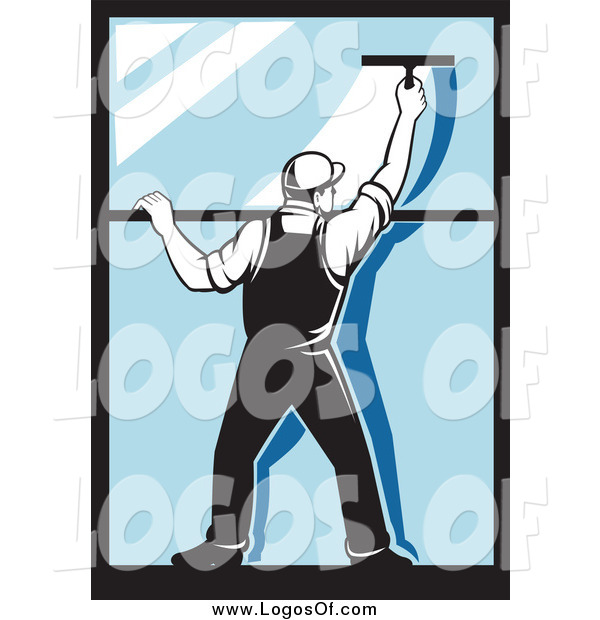 Vector Clipart of a Rear View of a Retro Window Washer Using a Squeegee