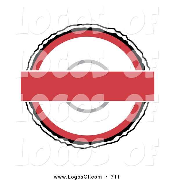 Vector Clipart of a Red and White Round Batdge Logo on White