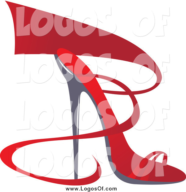 Vector Clipart of a Red Ribbon and High Heel Shoe Logo