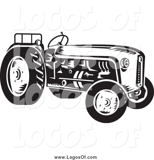 Vector Clipart of a Retro Black and White Tractor Farming Logo
