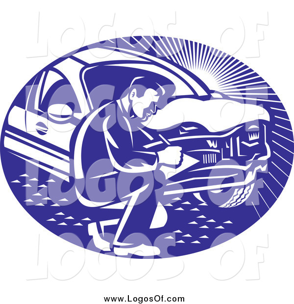 Vector Clipart of a Retro Car Insurance Adjuster Crouching by a Vehicle Logo
