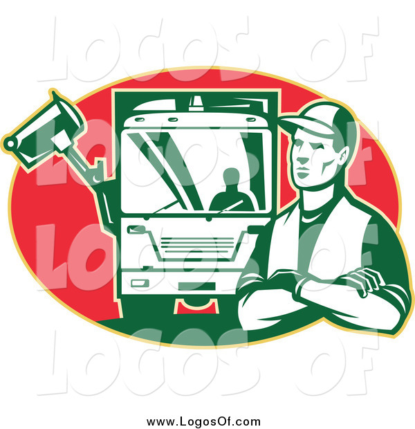 Vector Clipart of a Retro Garbage Man and Truck in a Red Oval Logo