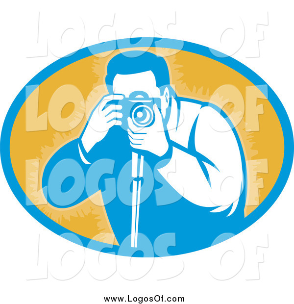 Vector Clipart of a Retro Male Photographer Taking Photos Logo
