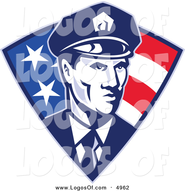 Vector Clipart of a Retro Police Officer in an American Triangle
