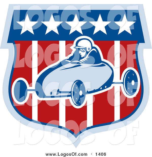 Vector Clipart of a Retro Soap Box Racer on a Shield