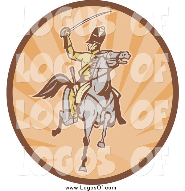 Vector Clipart of a Retro Tan and Orange Horseback Cavalry Soldier Logo