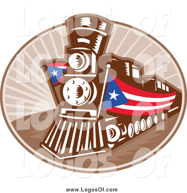 Vector Clipart of a Retro Train with American Banners Travel Logo