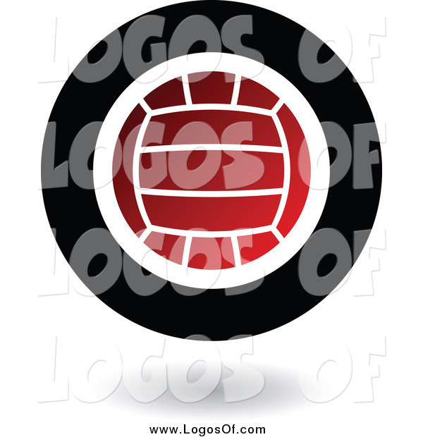 Vector Clipart of a Round Floating Red Black and White Volleyball Logo