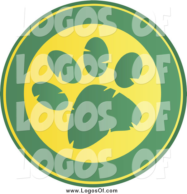 Vector Clipart of a Round Green and Yellow Paw Print Design Logo