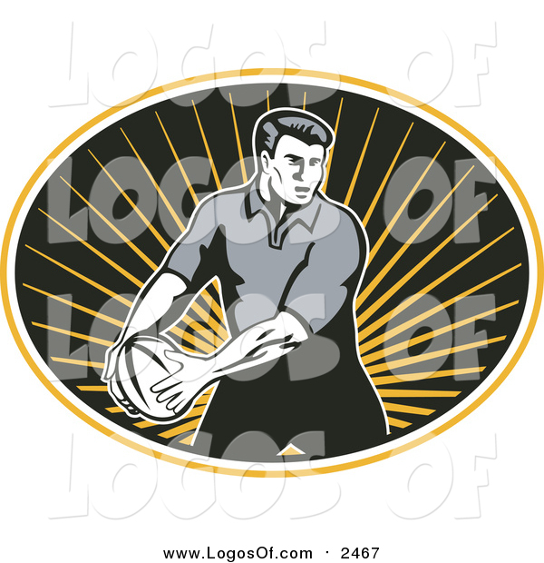 Vector Clipart of a Rugby Player in Motion with the Ball