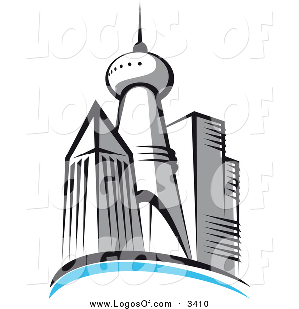 Vector Clipart of a Skyscraper City Skyline Logo