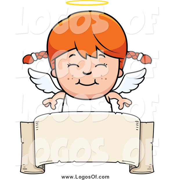 Vector Clipart of a Smiling Red Haired Caucasian Angel Girl over a Banner