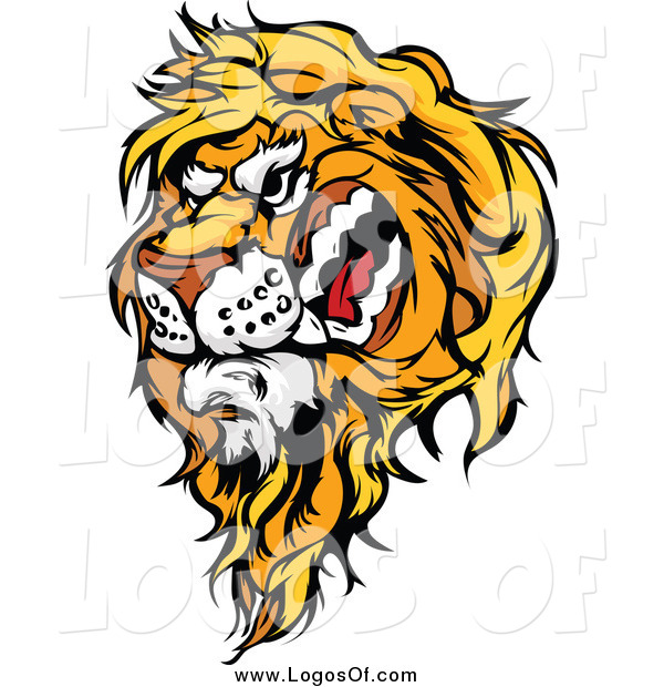 Vector Clipart of a Snarling Male Lion Logo