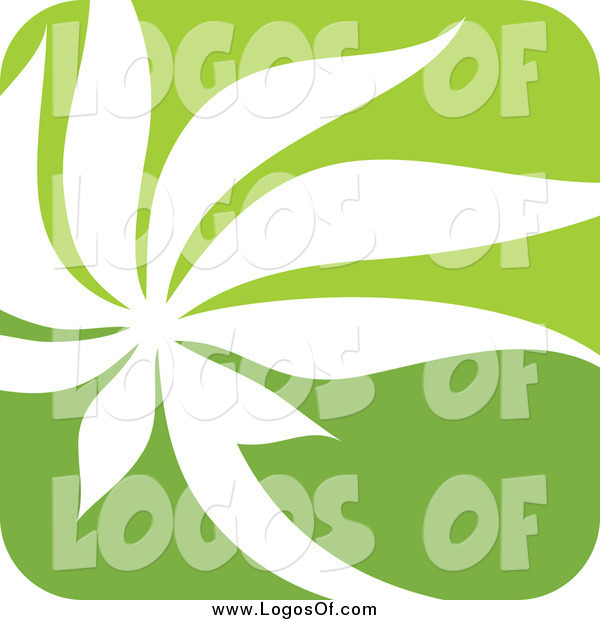 Vector Clipart of a Square Green and White Nature Leaf Logo