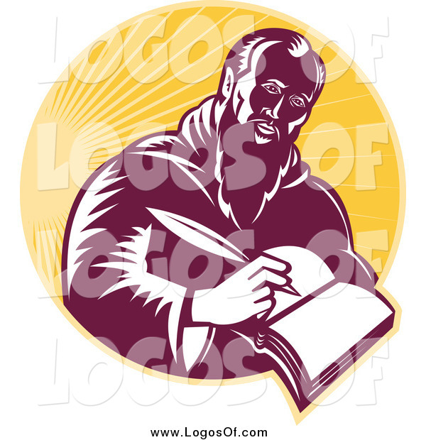 Vector Clipart of a St Jerome Writing in a Book in a Circle of Sunshine Logo