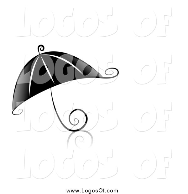 Vector Clipart of a Swirl Black and White Umbrella Logo