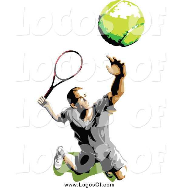 Vector Clipart of a Tennis Player Serving Logo