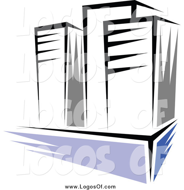 Vector Clipart of a Three High Rise Buildings Logo