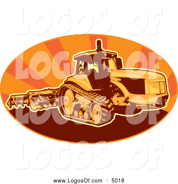 Vector Clipart of a Tiller Tractor in an Oval of Orange Rays