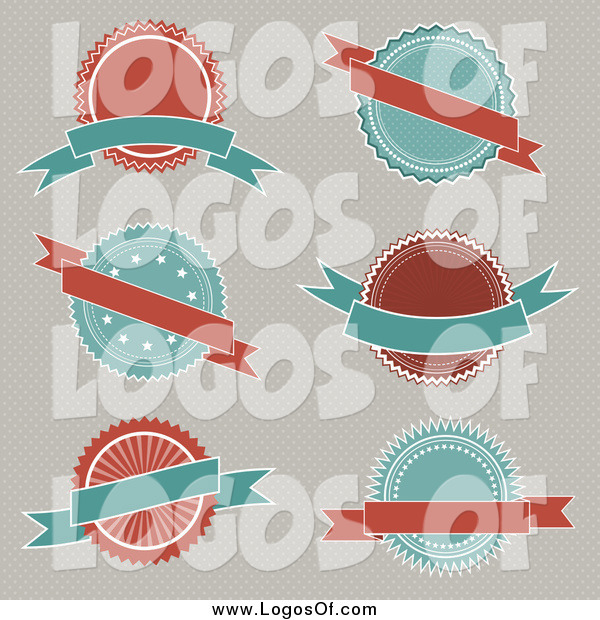 Vector Clipart of a Turquoise and Red Logos and Banners