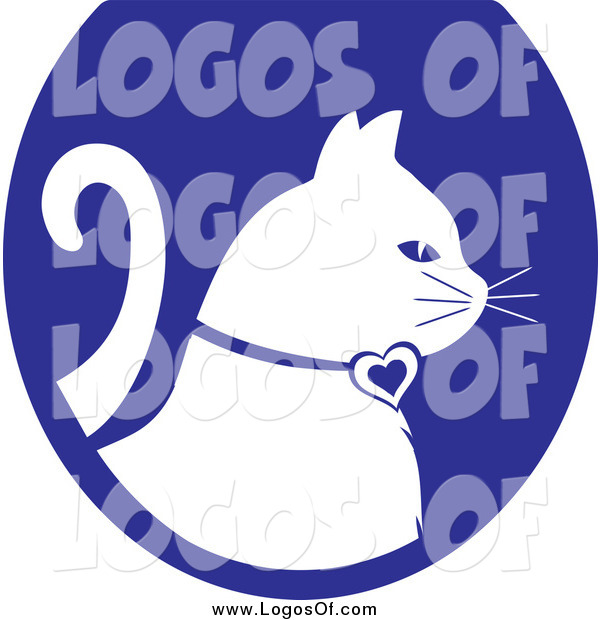 Vector Clipart of a White Profiled Cat on a Blue Oval Veterinary Logo