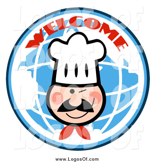 Vector Clipart of a Winking Chef Face over a Blue Welcome Globe