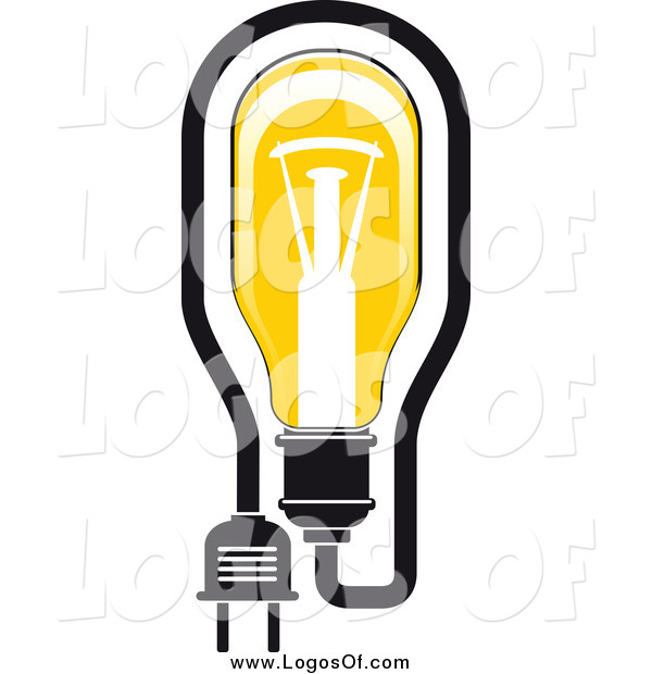 Vector Clipart of a Yellow Light Bulb and Plug Logo