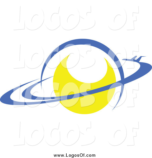 Vector Clipart of a Yellow Planet with Rings Logo