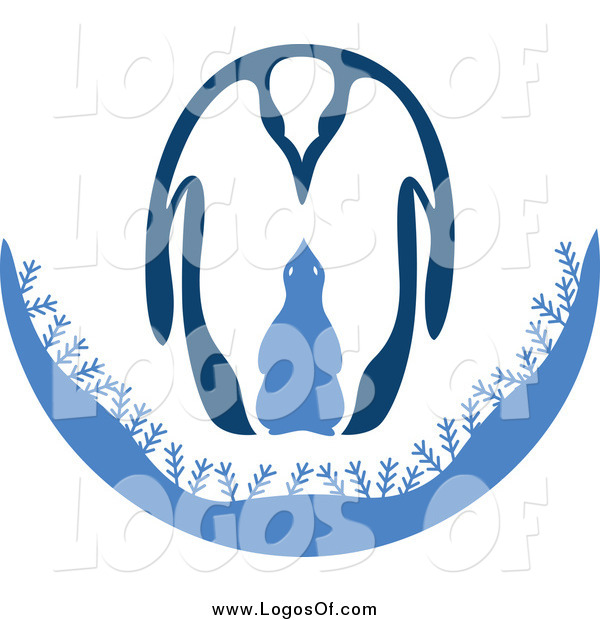 Vector Clipart of an Adult and Baby Penguin Logo