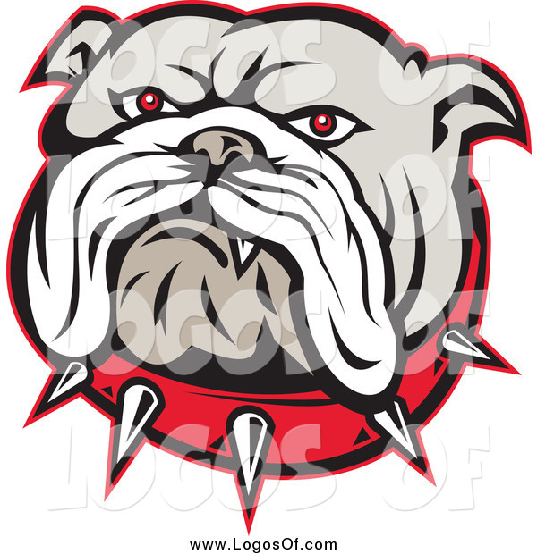Vector Clipart of an Angry Red Eyed Bulldog Face and Spiked Collar Logo