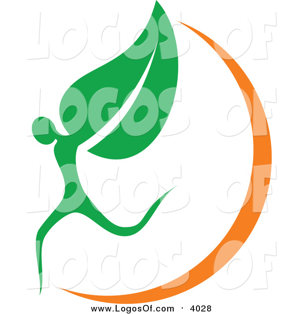 Vector Clipart of an Organic Leaf Person and Orange Swoosh Logo